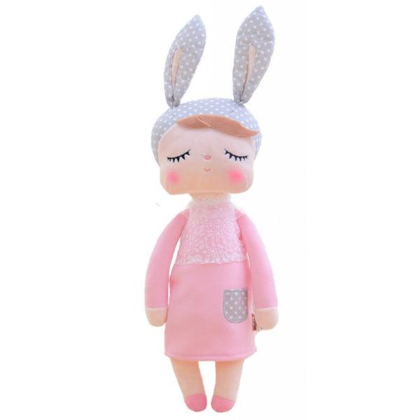 """Hasenmädchen, Hasenpuppe """"Angela"""" von metoo mit grauer Mütze und rosa Kleid"""