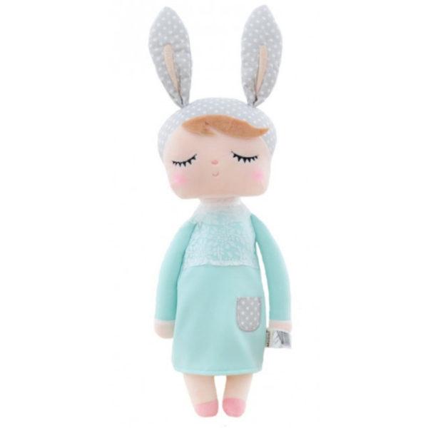 """Hasenmädchen, Hasenpuppe """"Angela"""" von metoo mit grauer Mütze und türkisem Kleid"""