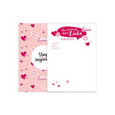 rosa Notizblock in DIN A6 mit Herzen und Kussmund für kleine Liebesbotschaften