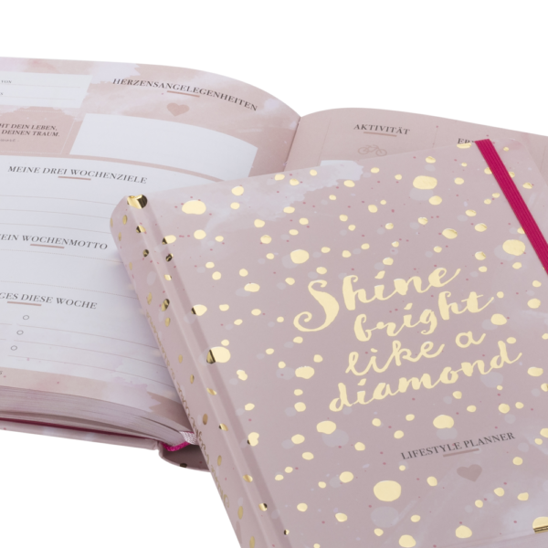 """wunderschöner Terminkalender """"Lifestyle Planner"""" in rosa mit goldenen Akzenten"""