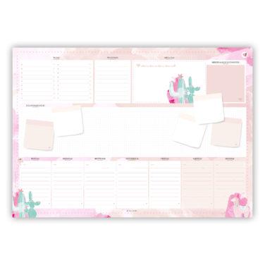 rosa Schreibtischunterlage in DIN A2 mit Aquarell und Kakteen und einem Alpaka