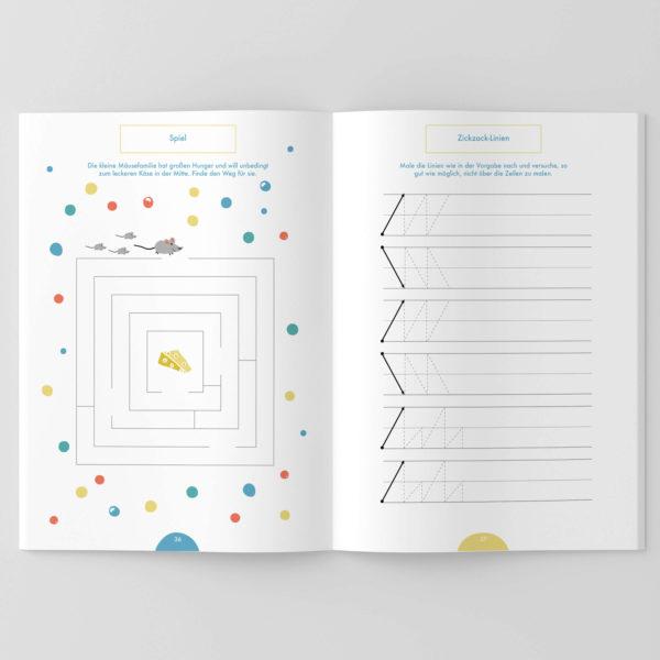 Zickzack-Linien zum Üben für Kinder, die das Schreiben lernen