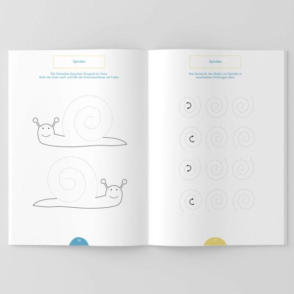 Schwungübungen für Spiralen zum Üben für Kinder im Kindergarten, Vorschule, Grundschule