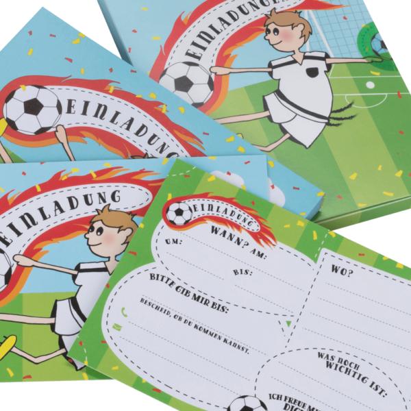 Fußball-Einladungskarten mit Umschlag für Jungs und Mädchen zum Geburtstag, zur Fußball-Party, zur Einschulung uvm.