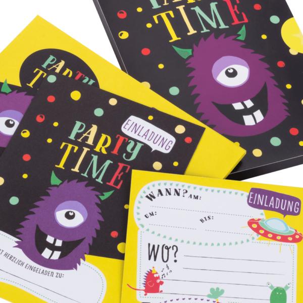 Monster/Alien-Einladungskarten mit Umschlag für Jungs und Mädchen zum Geburtstag, zur Party, zur Einschulung uvm.