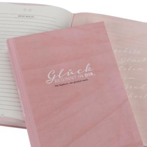 Glückstagebuch/6-Minuten-Tagebuch mit rosa Cover zum Eintragen für jeden Tag (morgens und abends)