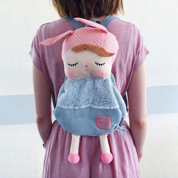 Hasenmädchen-Rucksack in grau mit rosa Mütze