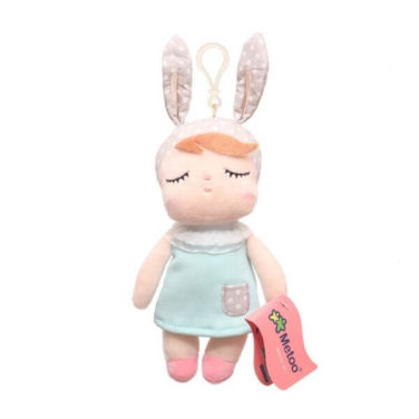 Mini female bunny doll (rabbit girl) with turquoise dress as a pendant