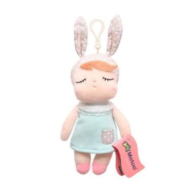Mini-Hasenmädchen (Hasenpuppe) mit türkisem Kleid und Anhänger