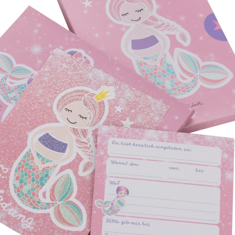 """12 glitzer-einladungskarten """"meerjungfrau"""" für mädchen"""