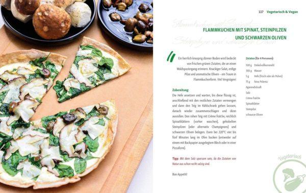 Rezept Flammkuchen mit Spinat, Steinpilzen und schwarzen Oliven von Andreas Kaiblinger