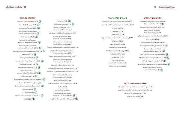"""Inhaltsverzeichnis des Kochbuchs """"Raffinierter Genuss ohne Zucker & Weizen"""" von Andreas Kaiblinger"""
