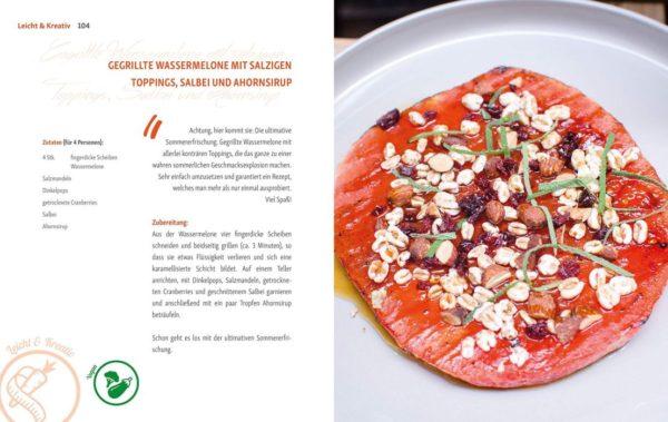 Rezept gegrillte Wasssermelone mit salzigen Toppings, Salbei und Ahornsirup von Andreas Kaiblinger