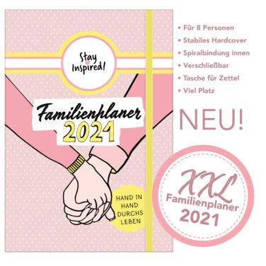 XXL Familienplaner 2021 für bis zu 8 Personen, Familienkalender mit Hardcover und Ringbuch