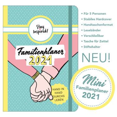 Mini Familienplaner 2021, handlicher Familienkalender für die Handtasche für bis zu 5 Personen